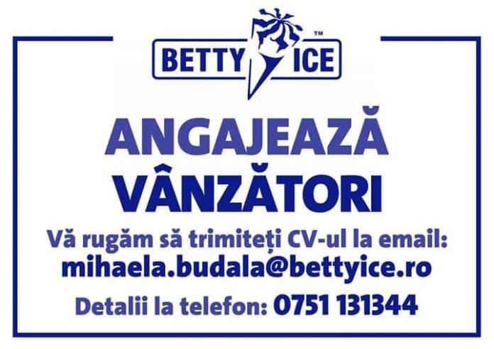 Betty Ice angajeaza vanzatori