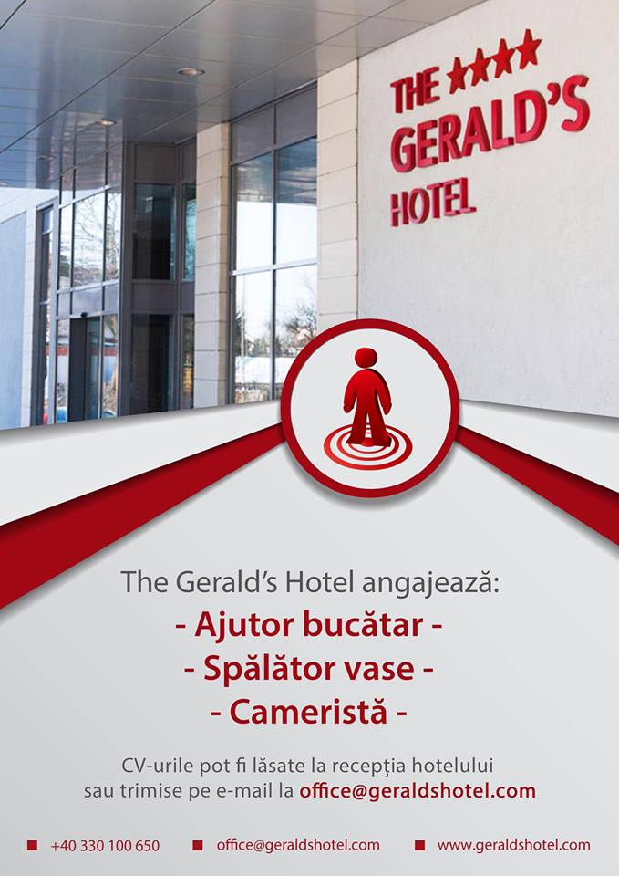 The Gerald's hotel angajeaza ajutor bucatar, spalator vase si camerista
