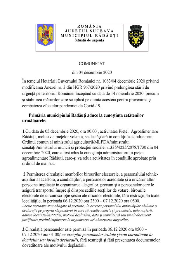 Comunicat 04 Decembrie 2020 Primaria Radauti