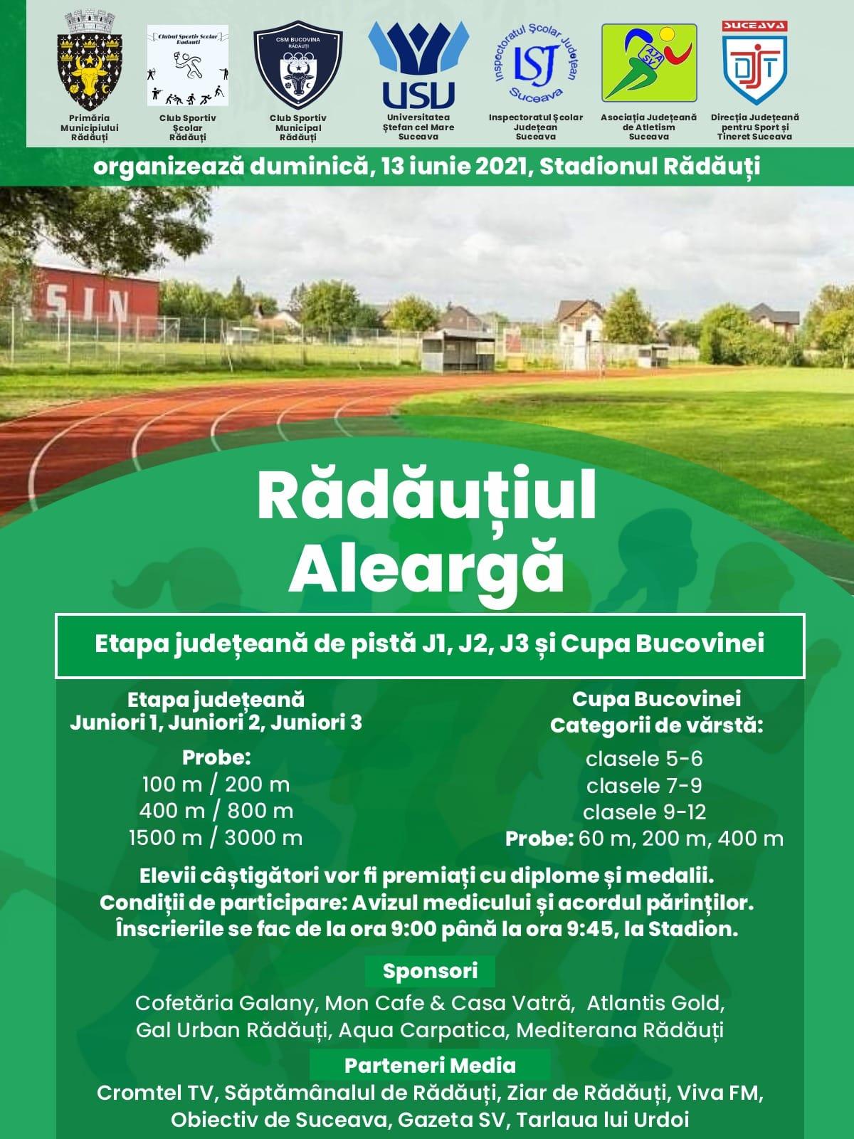 Rădăuțiul Aleargă pe Stadionul Municipal pe 13 Iunie 2021